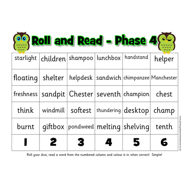 Roll and Read -  Letters and Sounds Phase 4 Words