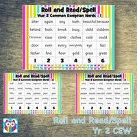 Roll and Read/Spell - Year 2 Common Exception Words:Primary Classroom Resources