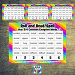 Roll and Read/Spell - Year 3 & 4 Common Exception Words