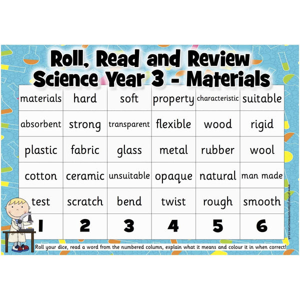 Roll, Read and Review -  Science Year 3:Primary Classroom Resources