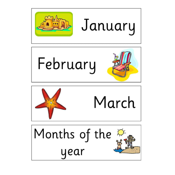 Seaside Days Months and Numbers