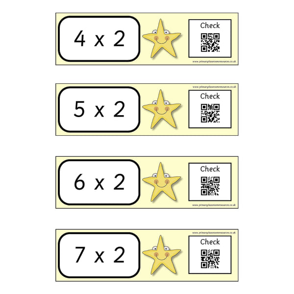 Self Checking Times Tables Cards - x 2 x 5 x 10 Tables:Primary Classroom Resources