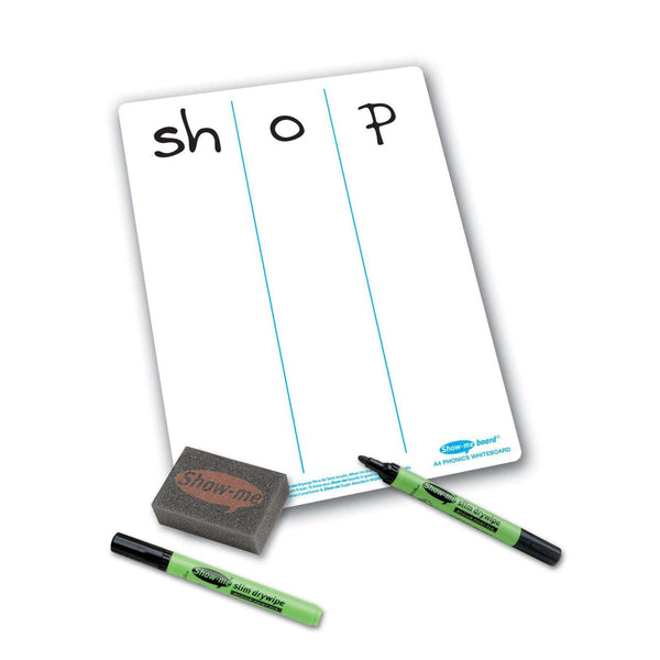 Show-Me Phonics Progression A4 Whiteboard, Pen & Eraser Pack:Primary Classroom Resources