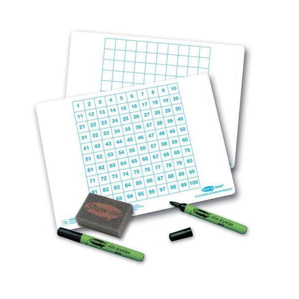 Show-Me Single Hundred Square Board, Pen and Eraser Pack:Primary Classroom Resources