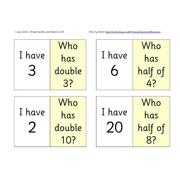 Simple Doubles and Halves to 25 Loop Cards:Primary Classroom Resources