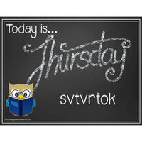 Slovak - English Days of the Week Blackboard Style Headers:Primary Classroom Resources