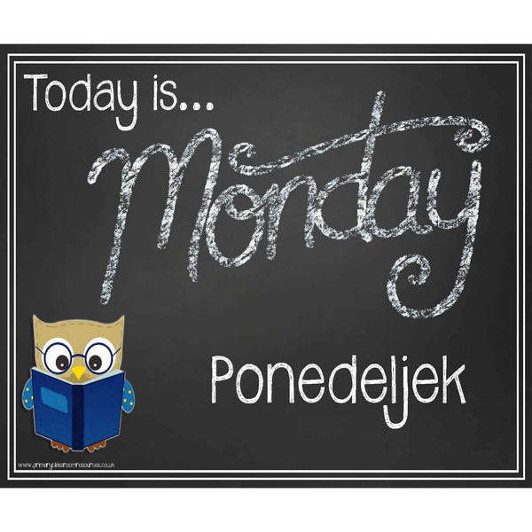 Slovenian - English Days of the Week Blackboard Style Headers:Primary Classroom Resources