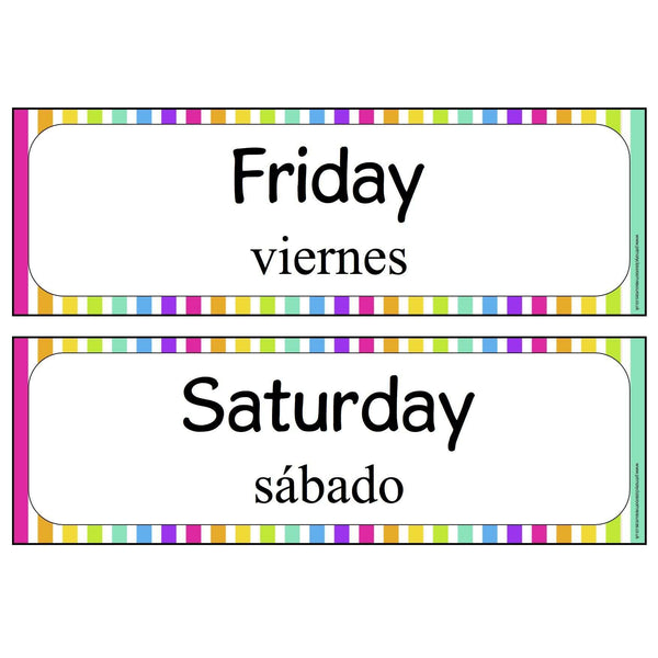 Spanish - English Days of the Week:Primary Classroom Resources
