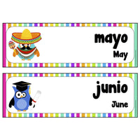 Spanish - English Months Cards:Primary Classroom Resources