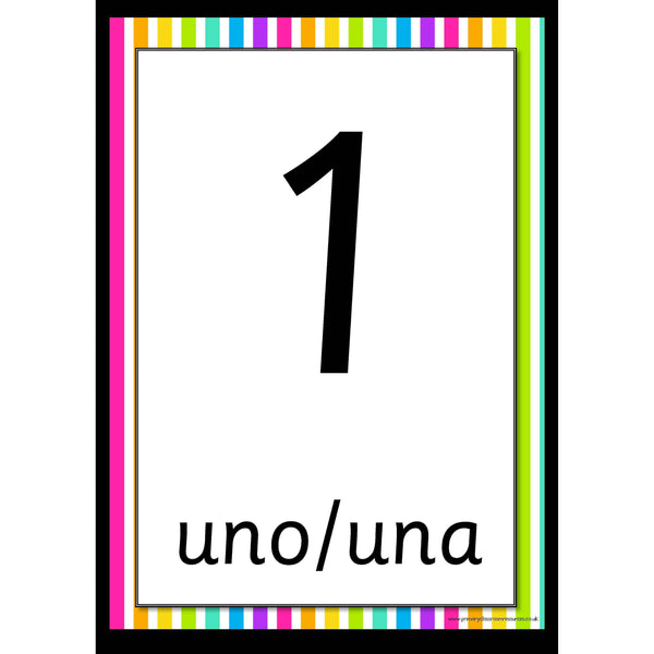 Spanish Rainbow Number Posters 0-20