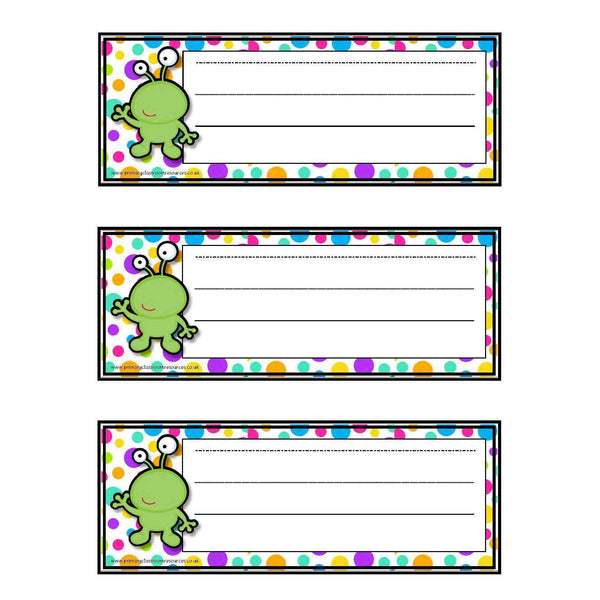 Spotty Alien Desk Topper/Blank Tray Labels:Primary Classroom Resources