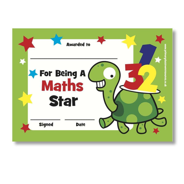 Sticky Certificates - Maths Star