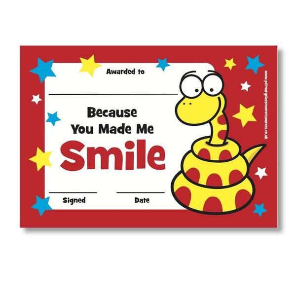 Sticky Certificates - Smile - Snake:Primary Classroom Resources