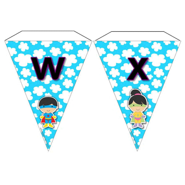 Superhero Letters and Sounds Phase 3 Bunting:Primary Classroom Resources