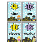 Superhero Number Cards 1-100