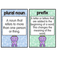 The GrammarBots SPaG Definitions Cards Set 2:Primary Classroom Resources