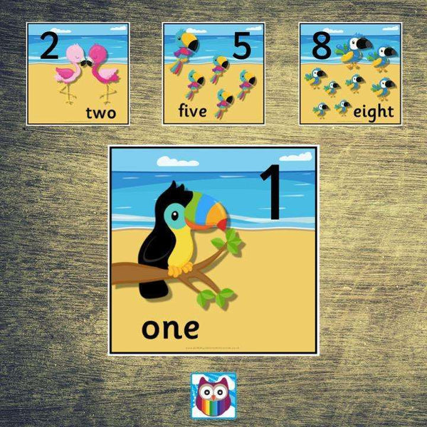 Tropical Themed Number Cards:Primary Classroom Resources