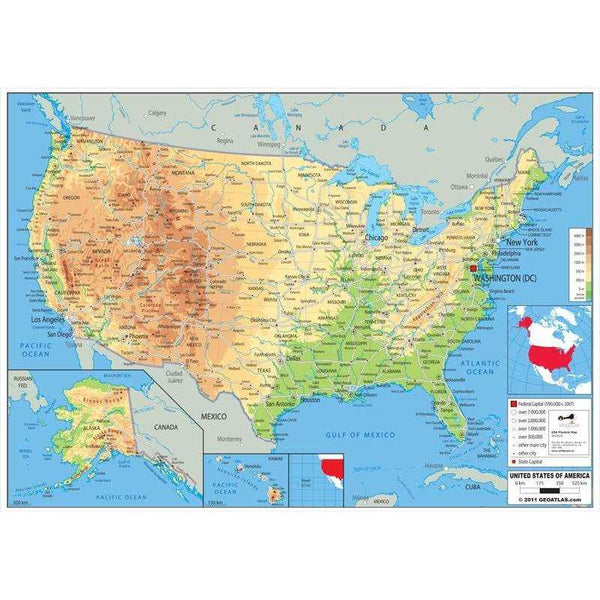USA Physical Map:Primary Classroom Resources