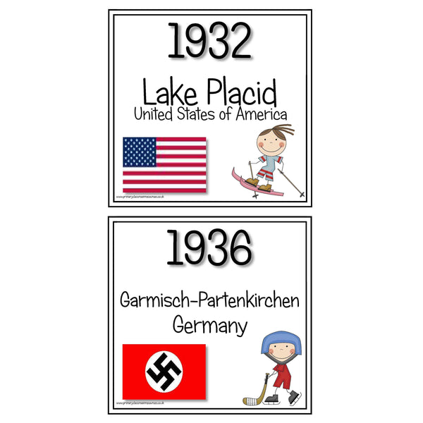 Winter Olympics Host Cities Timeline Cards:Primary Classroom Resources