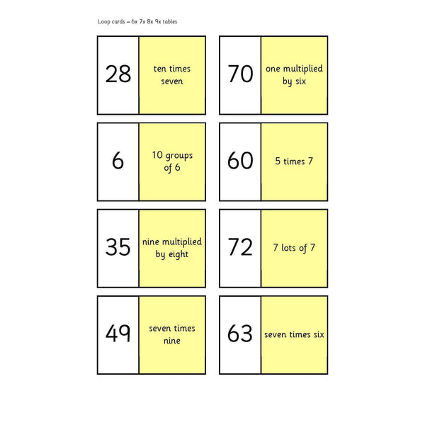 x 6789 Tables Loop Cards:Primary Classroom Resources