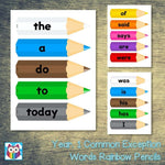 Year 1 Common Exception Words Rainbow Pencils:Primary Classroom Resources