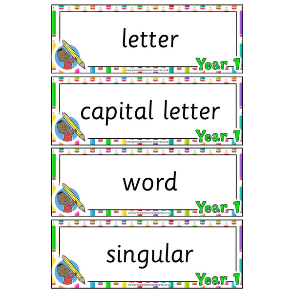 Year 1 English Terminology Cards:Primary Classroom Resources