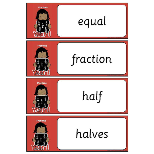 Year 1 Maths Vocabulary - Fractions:Primary Classroom Resources