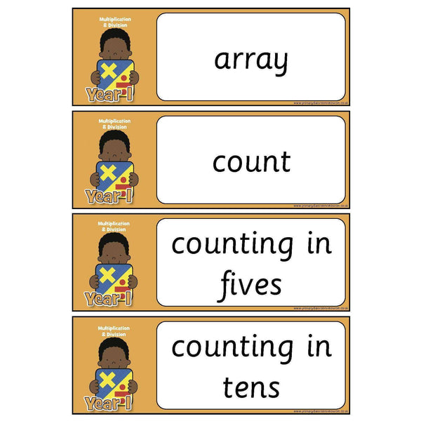 Year 1 Maths Vocabulary - Multiplication and Division:Primary Classroom Resources