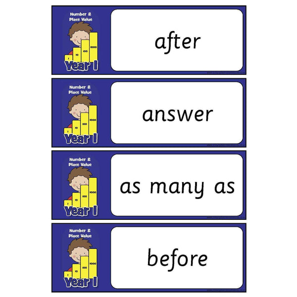 Year 1 Maths Vocabulary - Number and Place Value:Primary Classroom Resources