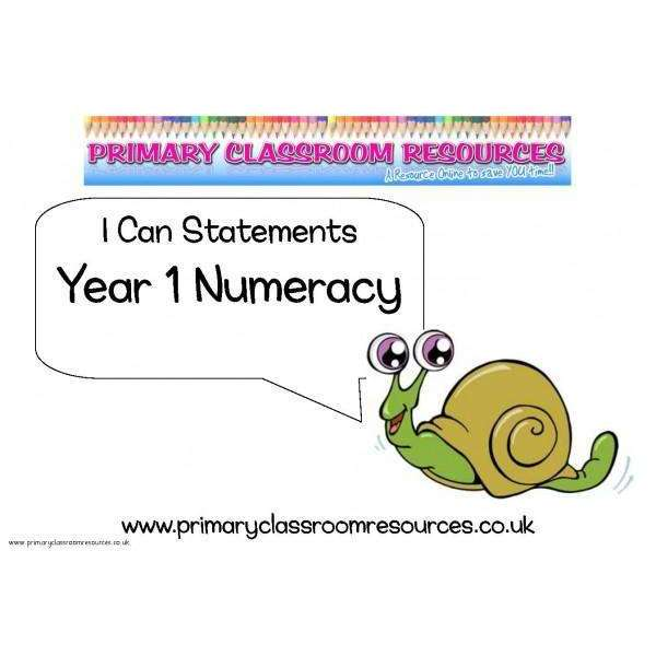 Year 1 Numeracy I Can Statements Posters:Primary Classroom Resources