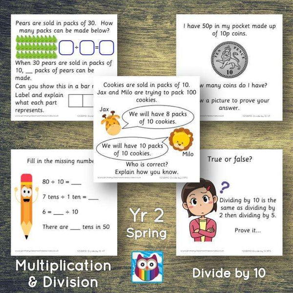 Year 2 - Spring Block 1 - Multiplication & Division - Divide by 10 - Question & Talk Pack:Primary Classroom Resources