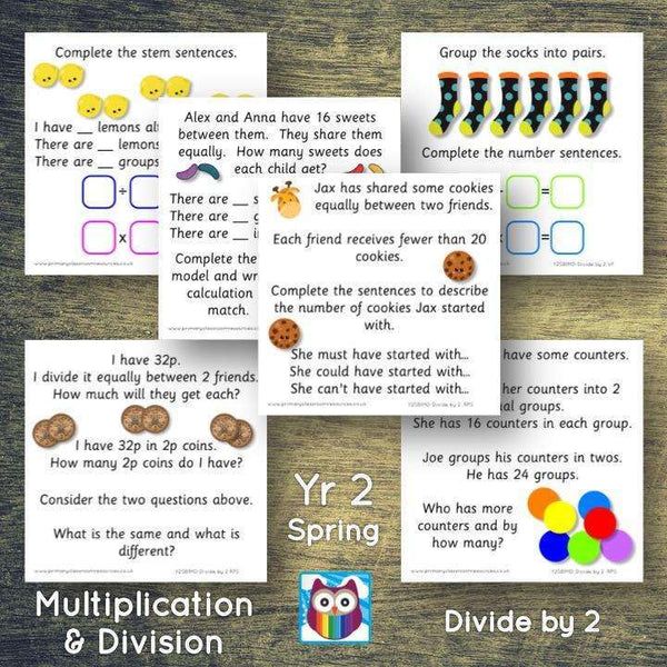 Year 2 - Spring Block 1 - Multiplication & Division - Divide by 2 - Question & Talk Pack:Primary Classroom Resources
