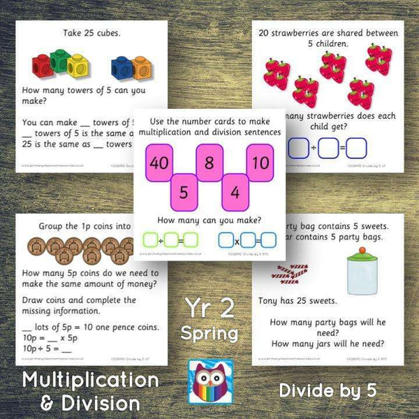 Year 2 - Spring Block 1 - Multiplication & Division - Divide by 5 - Question & Talk Pack:Primary Classroom Resources