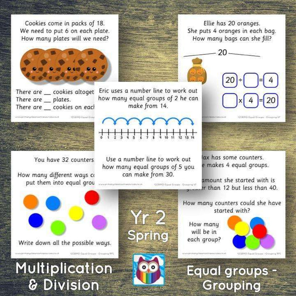 Year 2 - Spring Block 1 - Multiplication & Division - Equal groups by grouping - Question & Talk Pack:Primary Classroom Resources