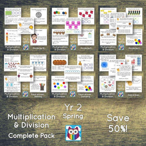 Year 2 - Spring Block 1 - Multiplication & Division BUNDLE - Question & Talk Pack:Primary Classroom Resources