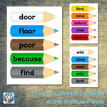 Year 2 Common Exception Words Rainbow Pencils:Primary Classroom Resources