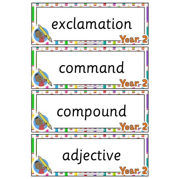 Year 2 English Terminology Cards:Primary Classroom Resources