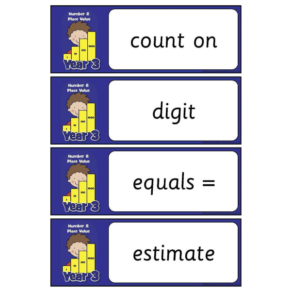 Year 3 Maths Vocabulary - Number and Place Value:Primary Classroom Resources