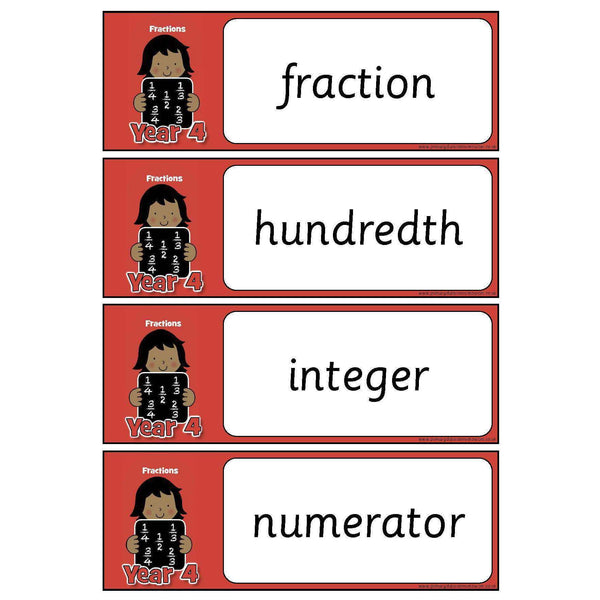 Year 4 Maths Vocabulary - Fractions:Primary Classroom Resources