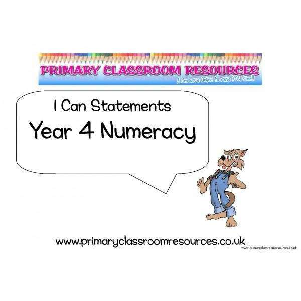 Year 4 Numeracy I Can Statements Posters:Primary Classroom Resources