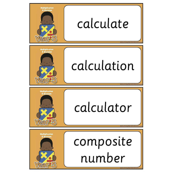 Year 5 Maths Vocabulary - Multiplication and Division:Primary Classroom Resources