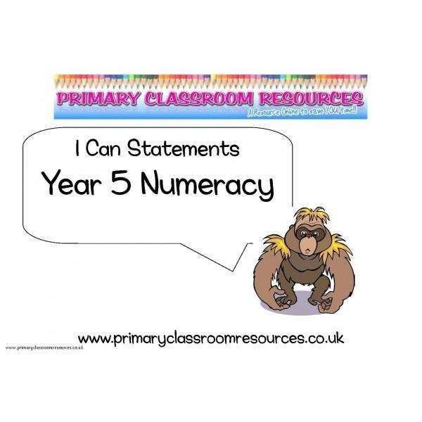 Year 5 Numeracy I Can Statements Posters:Primary Classroom Resources
