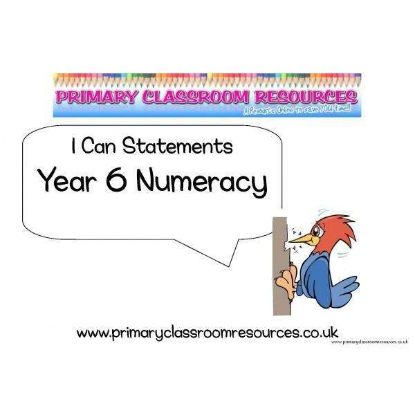 Year 6 Numeracy I Can Statements Posters