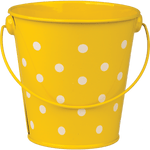 Yellow Polka Dots Metal Bucket:Primary Classroom Resources