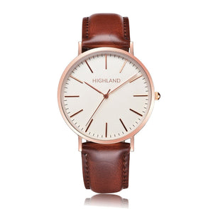 Minimal gold wrist watch with brown leather strap for men