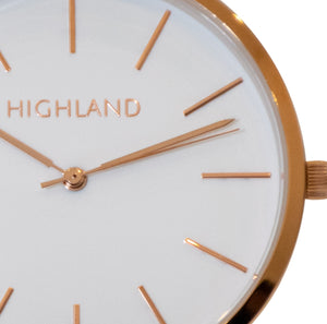 Minimal gold wrist watch with brown leather strap for men with dial detail