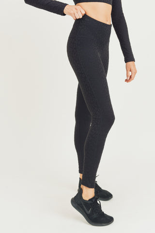 Image of Textured Leopard Jacquard TACTEL® Highwaist Leggings