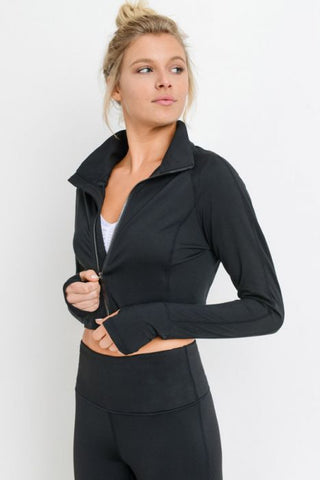 Image of Zip-Up Crop Active Jacket with Thumbholes