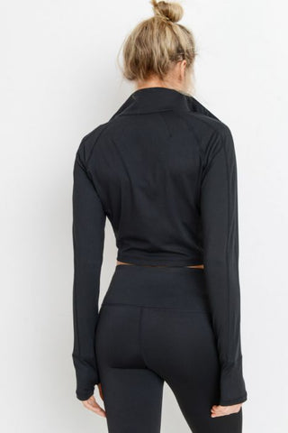 Zip-Up Crop Active Jacket with Thumbholes