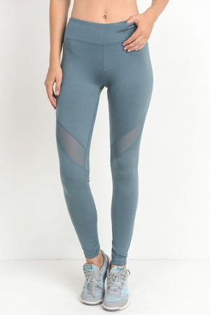 Slanted Wrap Mesh Full Leggings